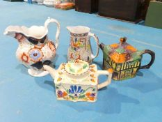 Two Novelty Teapots and 2 Jugs