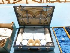 A 1950s Brexton Picnic set for four in sky blue case