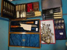 Six cased sets of Cutlery and a tray of loose Cutlery inc Carving items, Fish Eaters etc