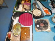 A cased Melody Junior Ukulele and collection of 78 vinyls and a selection of Sewing Items,