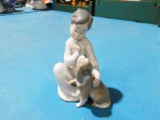 Lladro 4522 Seated Boy with Dog