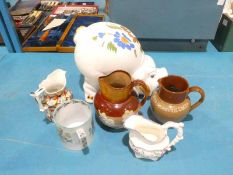 Large Pottery Pig Money Bank, 4 Jugs and large Tankard