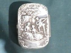 A silver Snuff Box, embossed lid with Romantic Scene