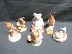 A collection of six Royal Albert Beatrix Potter Figures, all with boxes
