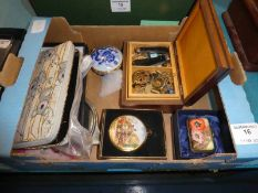 A mixed lot including Trinket Boxes Pen Knives, 2 RAF Cap Badges
