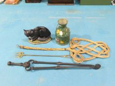 Bargeware Can, Cat Door Stop, Fire Tongs, Toast Fork and Carpet Beater