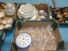 Two boxes of mixed glass, Toilet Bowl, blue and white Rose Bowl, Child's Tea Service etc