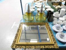 A pair of 1960's style Amber Glass Onion shape Pendant Light Fittings and a gilt frame Mirror