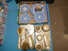 Four Wedgwood blue Jasperware Plates and a Royal Doulton D6656 Character Jug and eleven items of