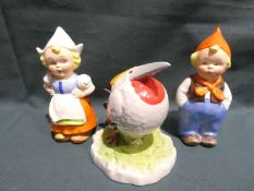 A pair of Goebel Dutch Boy and Girl, 13cm and 12cm high and a Goebel Gunter Schorrer's Berdz 'max