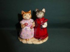 A Royal Doulton rare Beatrix Potter Group, Mittens and Moppet in trial colourway, stamped the
