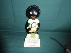 A Carlton Ware hand painted Golly Figure, Girl Tennis Player, Artist Proof, only 120 produced not