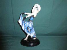 A Goldscheider Wien Art Deco figure by Stephan Dako as a Dancer, blue/black on oval domed black