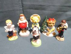 Six Wade Limited Edition Character Figures: Gnasher, Tessie Bear, Christmas Club 1998, Collectus,