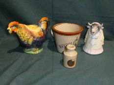 A Maypole Diary Cream pail, 12cm high, a Woolley Cream Bottle, a Milk Jug in the form of a Cow