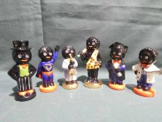 Six Carlton Ware limited edition hand painted Golly Character Figures, three boxed including Super