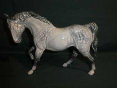 A Beswick Horse, right leg up in unusual Dapple Grey type colourway, 23cm long