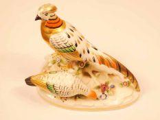 Samson Chelsea porcelain pheasant group 12cm height