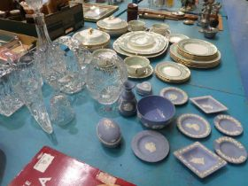 Seven items of Heavy cut glass crystal ware and eleven items of Wedgwood blue Jasper Ware
