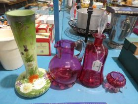 A Cranberry Glass Decanter, Jug and Salt and Long Neck Green Glass Vase