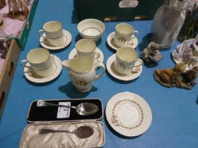 A 13 piece Royal Worcester Part Coffee Service, a silver Dessert Spoon 1.02oz and a plated tea
