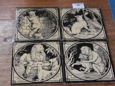 A set of four Aesop's Fables Mintons Tiles, each 15.5cm square