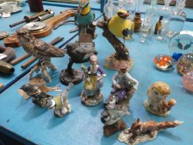 Eleven ceramic Birds and Figures inc Royal Crown Derby, Beswick, Sitzendorf etc