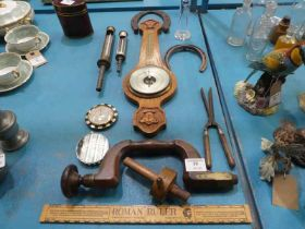 Twelve items inc old tools, Barometer, Horseshoes and Boiler Thermometer