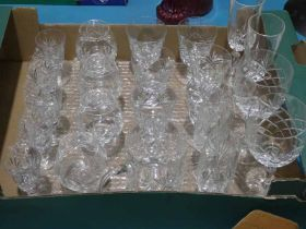Twenty two items of cut crystal Drinking Glassware inc Thomas Webb and others