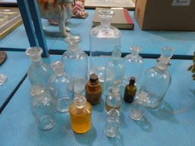 Fourteen Vintage Chemist Bottles of various sizes