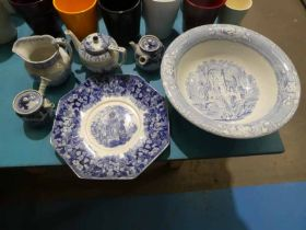 Six items of Chinese and English blue and white ware
