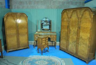 A mid 20th century burr walnut Bedroom Suit by Harrods of London, including Night stand, dressing