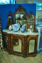 A Victorian walnut marble top Chiffonier with triple mirror and three door mirrored base 137cm wide