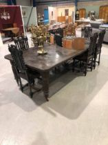 Large 19th century Arts & Crafts two leaf wind out Dining Table on porcelain cup casters, 129.5cm W