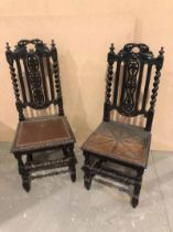 A harlequin set of ten 19th century Carolean style Dining Chairs with grape and vine decoration on
