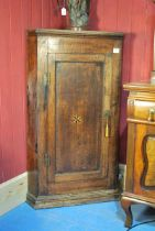 George III oak Corner Cupboard with bog oak and boxwood star paterae opening to reveal shaped