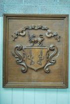 A 19th century carved oak Coat of Arms with banner and motto 'Gratitudo', 92cm X 82cm