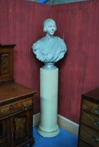 A 19th century Cast Plaster Bust of a lady, facing sinister, 75cm high, on column pedestal 110cm