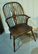 An Ash and Elm Windsor Chair with high back and Crinoline Stretcher