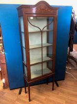 An Edward VII mahogany narrow display cabinet with painted harebell inlay and beaded glass door on