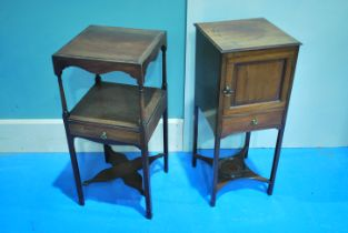 A George III mahogany night stand with pot cupboard candle drawer and cross stretcher 81.5cm