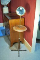 Of Sherlock Holmes interest; A Victorian brass and red walnut shaving stand on cast iron base,