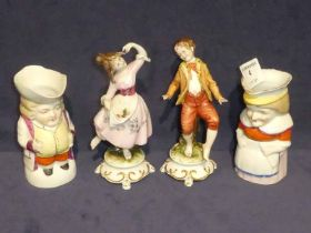 A pair of Capo di Monte boy and girl dancing and a pair of character jugs