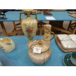 Royal Worcester 1047 jug, (A/F), Doulton Burslem lidded jar (A/F) and Austrian blush ivory vase