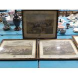 The Grand Leicestershire Fox Hunt, a part set of three Aquatints after Hunt and Alken junior