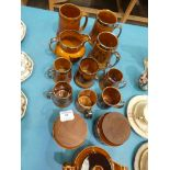 Nineteen items of Nelson pottery, tankards, jugs and Hornsea Saffron ware
