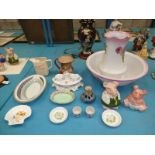 Fifteen items of mixed ceramics to include Jug & Bowl, Nat West pigs, whisky jug, condiment set etc