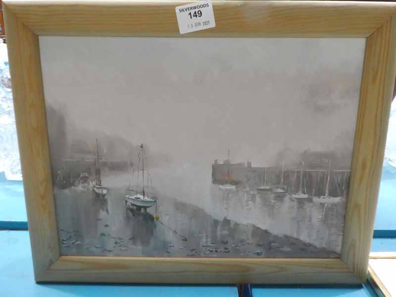 Gordon Valentine (20th/21st century) oil on canvas 'Whitby Sea Front' maritime landscape, signed
