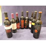 Eight bottles of mixed world red wines