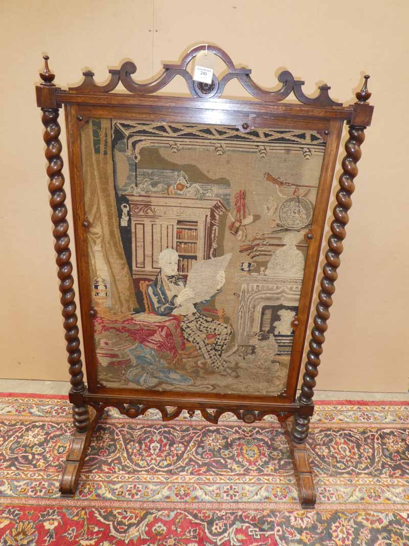 Gillows style rosewood Fire Screen with tapestry of Sir Walter Scott in his library, supported by
